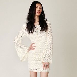 Free People • Crochet Cream Bell Sleeve Dress